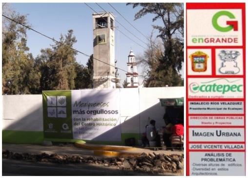 Nueva propaganda en el centro de San Cristóbal, en Ecatepec; a la derecha, parte del cartel exhibido el 13 de julio de 2012, en Tecámac. Composición: aquíEcatepec