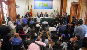 Un aspecto de la conferencia de prensa realizada en la Consejería de Educación de la Embajada de España