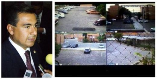 El diputado local Octavio Martínez Vargas y cámaras de video-vigilancia que ya están funcionado en Ecatepec. Foto: CSOMV