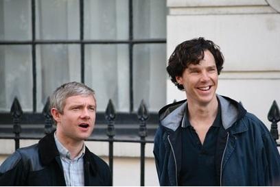 Martin Freeman (Watson) y Benedict Cumberbatch (Sherlock), geniales  protagonistas de la exitosa serie. Foto: Tomada de Internet