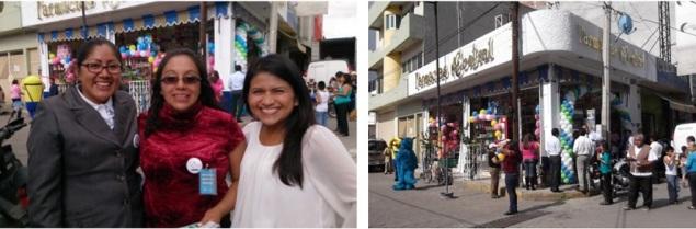 Representantes de empresas que acudieron a atender a los visitantes y promocionar o regalar productos; a la derecha, la sucursal Minerva