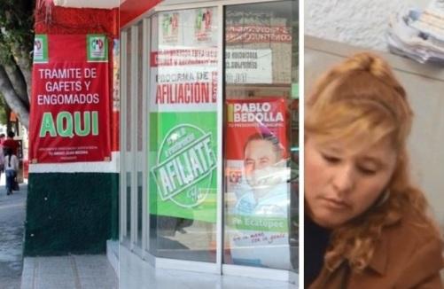 La entrada principal del PRI de Ecatepec luce así (foto Facebook). A la derecha, la persona que atiende y explica el proceso de adquisición. Fotograma del video de Reforma