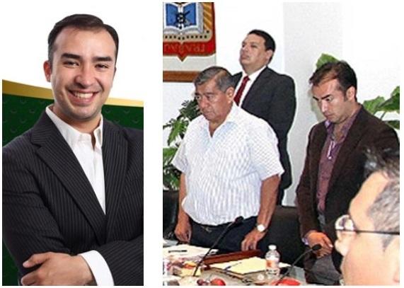 El quinto regidor en imagen del Facebook y hoy en la sesión de Cabildo,a la derecha. Foto: CSDMA