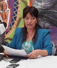 Eva Ahuatzin, madre del inculpado, durante la rueda de prensa. Foto: Jorge Villa