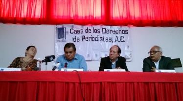 Conferencia de prensa en la Casa de los Derechos de Periodistas el pasado 5 de agosto, en la que se anunció que la CIDH solicitó al estado mexicanos ordenar medidas cautelares en favor de Contralínea. Foto: archivo Jorge Villa