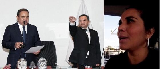 El alcalde Pablo Bedolla le toma la protesta al capitán de Corbeta, Leonel Terán Ramírez,  como director general de la policía municipal; la síndico Diana Méndez acusa el centralismo de la decisión al no comunicarle la decisión de manera responsable. Fotos: C. S. y Jorge Villa
