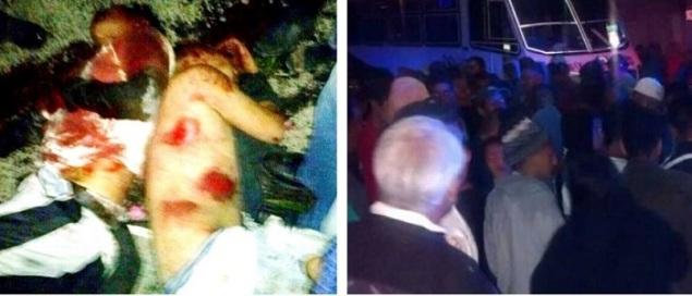 Estado de los cuerpos luego de la golpiza en una imagen tomada con un celular. Al lado, el autobús en que viajaban los usuarios. Fotos: Facebook (i), y derecha, tomada de Milienio