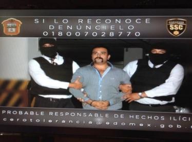 Ricalde Barocio está señalado como probable responsable de los delitos de delincuencia organizada, secuestro y homicidio. Foto: PGJEM
