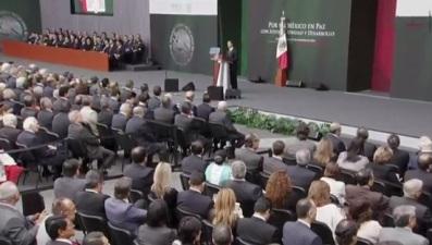 Peña Nieto envió su mensaje desde el patio de Palacio Nacional. Fotograma: Tomado del canal de Presidencia