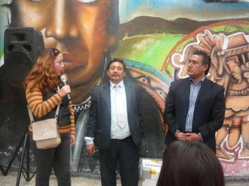 La señora Claudia Huerta, madre de la joven asesinada; David Mancera Figueroa, luchador social y el diputado Octavio Martínez Vargas. Foto: Mary Santiago