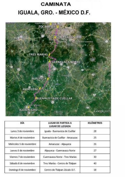 """La ruta de la marcha  """"#43x43. Ni un desaparecido más"""" que iniciará a las 10:00 de mañana en Iguala de la Independencia."""