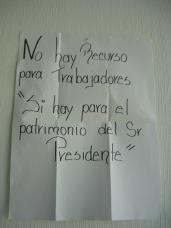 Cartel mostrado por la síndico Diana Méndez