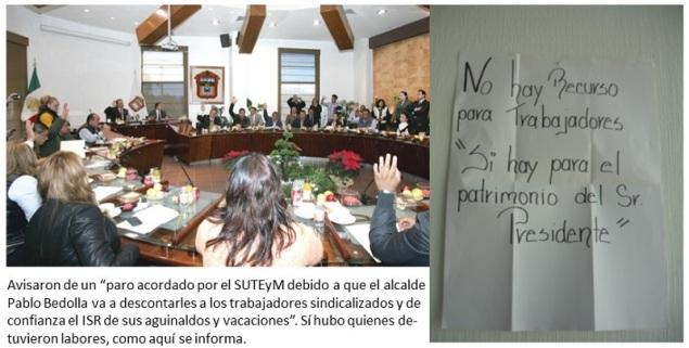 La mayoría  PRI-PAN  y el satélite PT aprobaron en cabildo el proyecto de presupuesto 2015 y más deuda al municipio, según anunciço Pablo bedola; ediles del PRD lo rechazaron. Fotos: AquíEcatepec