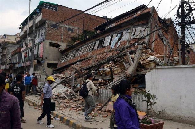 El epicentro del temblor se ubicó a a 77 kolómetros de Katmandú, capital de Nepal. Foto: Xinhua