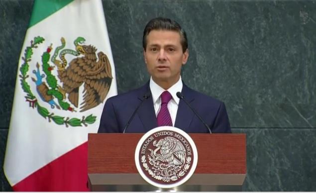 """""""He decidido hacer cambios en mi equipo de gobierno para hacer frente a las nuevas circunstancias y desafíos que enfrenta el país"""", dijo Peña Nieto en su  mensaje en Los Pinos. Foto: Video Presidencia"""