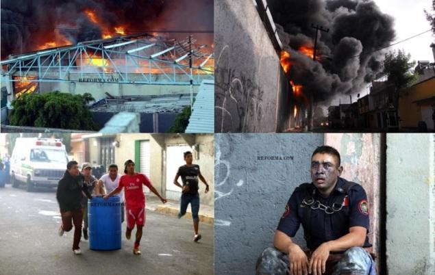 Ayer a las 17:00 horas se originó un incendio en la zona industrial de San Pedro Xalostoc; no hubo heridos salvo dos presuntos bomberos intoxicados. Foto: Reforma/red-accion
