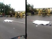 Dos de los cuatro carriles fueron acordonados y cerrados por agentes de la Policía Federal en espera de peritos para que realizarán el levantamiento del cuerpo. Foto: Video